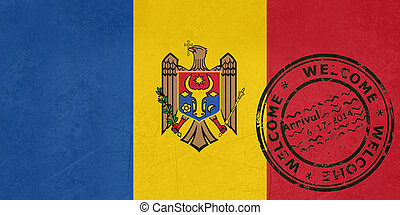 Welcome to Moldova flag with passport stamp