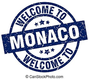 welcome to Monaco blue stamp