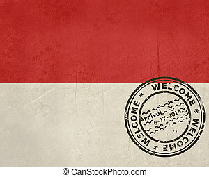 Welcome to Monaco flag with passport stamp