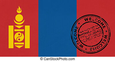 Welcome to Mongolia flag with passport stamp