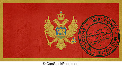 Welcome to Montenegro flag with passport stamp