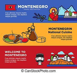 Welcome to Montenegro posters with national cuisine and attractions