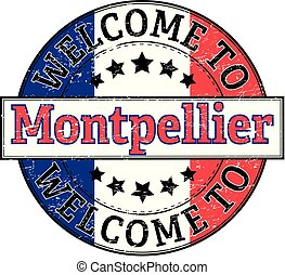 welcome to Montpellier round stamp