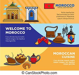 Welcome to Morocco and Moroccan cuisine posters set
