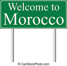 Welcome to Morocco, concept road sign