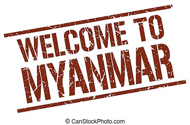 welcome to Myanmar stamp