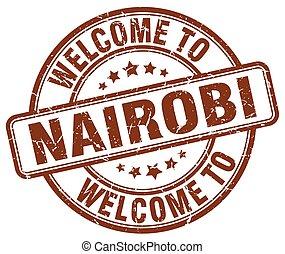 welcome to Nairobi brown round vintage stamp