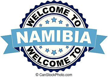 Welcome to Namibia blue black rubber stamp