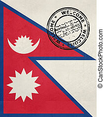 Welcome to Nepal flag with passport stamp