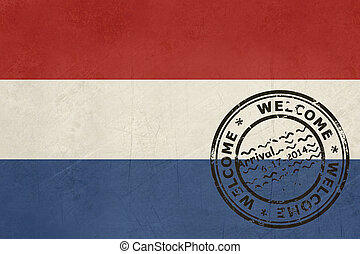 Welcome to Netherlands flag with passport stamp