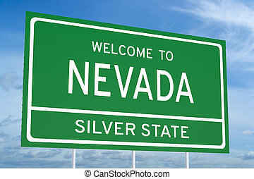 Welcome to Nevada state road sign