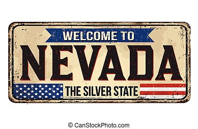 Welcome to Nevada vintage rusty metal sign