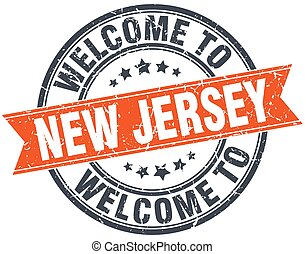 welcome to New Jersey orange round ribbon stamp