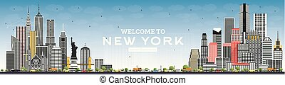 Welcome to New York USA Skyline with Gray Buildings and Blue Sky.