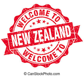 Welcome to New Zealand red grungy vintage isolated seal