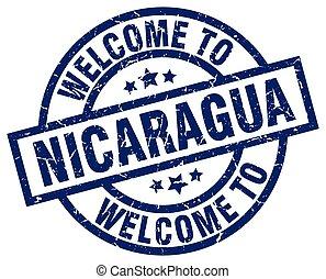welcome to Nicaragua blue stamp
