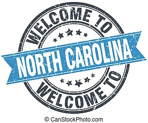 welcome to North Carolina blue round vintage stamp