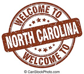 welcome to North Carolina brown round vintage stamp