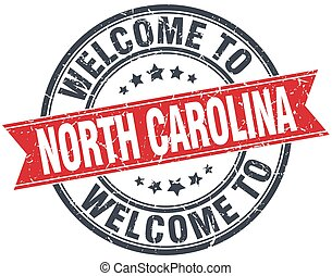 welcome to North Carolina red round vintage stamp
