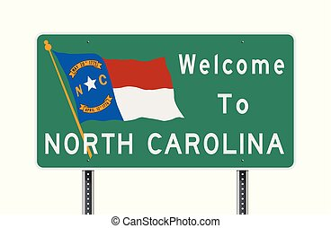 Vector illustration of the Welcome to North Carolina green road sign with North Carolina flag