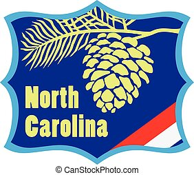 Welcome to North Carolina road stand. Vector illustration.