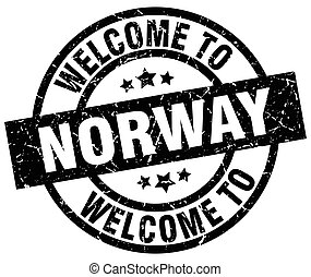 welcome to Norway black stamp