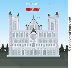 Welcome to Norway card Vector. Architecture of cathedral tourist atractions