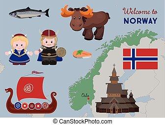 Welcome to Norway, scandinavian symbols set