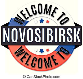 welcome to NOVOSIBIRSK russia flag icon