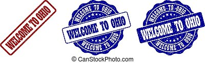 WELCOME TO OHIO Grunge Stamp Seals