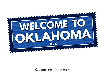 Welcome to Oklahoma travel sticker or stamp