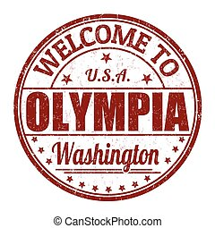 Welcome to Olympia grunge rubber stamp on white background, vector illustration