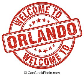 welcome to Orlando red round vintage stamp