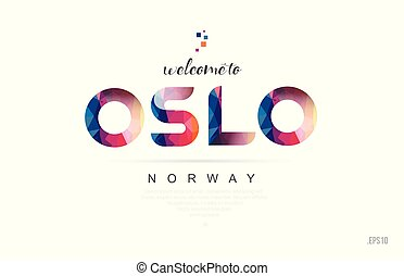 Welcome to oslo norway card and letter design typography icon