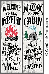 Welcome to our firepit and cabin signs set. Where friends and marshmallows get toasted. Hand-drawn typography vertical sign set for home decor or any events for the backyard. Wood sign for the cabin