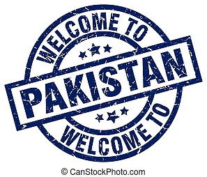 welcome to Pakistan blue stamp