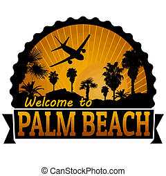 Palm Beach travel label or stamp