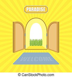 Welcome to paradise. Open gates of paradise gardens. Mat in front of door. Von Glow solar.  Entrance to God. Vector illustration on religious topics