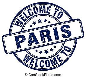 welcome to Paris blue round vintage stamp