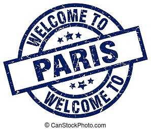 welcome to Paris blue stamp
