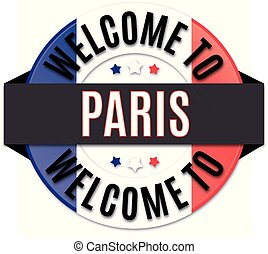 welcome to paris france flag icon