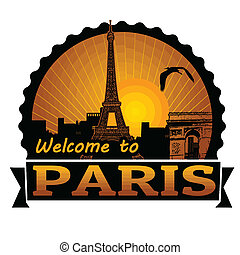 Welcome to Paris label or stamp