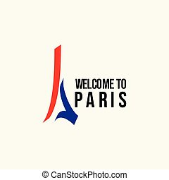 Welcome to Paris Logo Vector Template Design Illustration