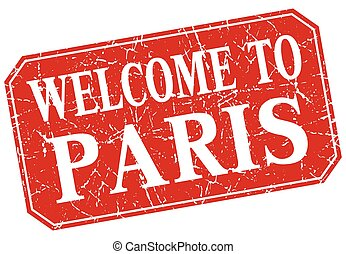 welcome to Paris red square grunge stamp