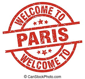 welcome to Paris red stamp