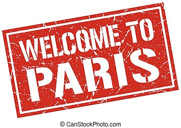 welcome to Paris stamp