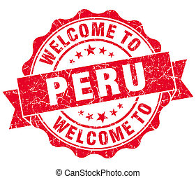 Welcome to Peru red grungy vintage isolated seal