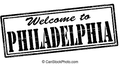 Welcome to Philadelphia - Stamp with text welcome to...