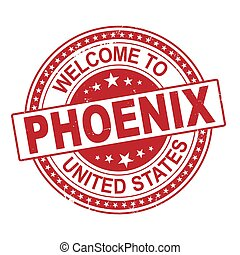 Welcome to Phoenix grunge red rubber stamp on white background, vector illustration