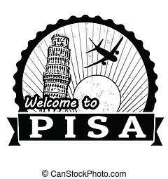 Welcome to Pisa label or stamp